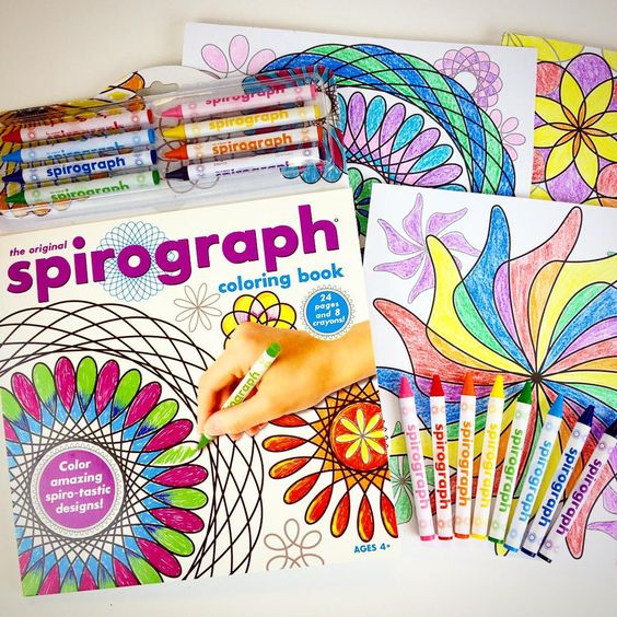 Spirograph Coloring Book! Adults and kids will have fun coloring in the Spirograph designs!