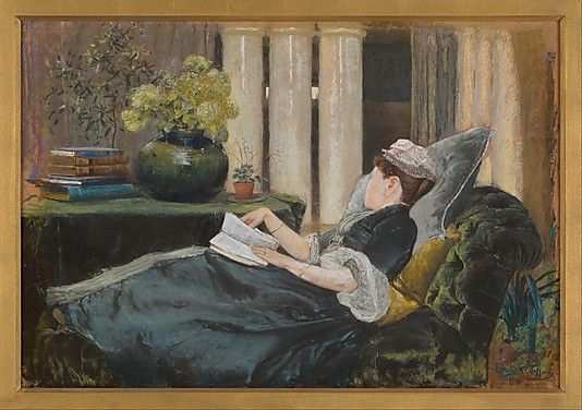 Louise Tiffany, Reading  Louis Comfort Tiffany (American, New York City 1848–1933 New York City)  Date: 1888 Medium: Pastel on buff colored wove paper. http://www.metmuseum.org/Collections/search-the-collections/20019979?rpp=20&pg=4&ao=on&ft=Tiffany&pos=62