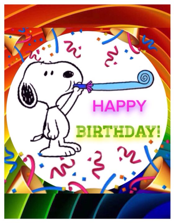 "Snoopy says, ""HAPPY BIRTHDAY!"".:"