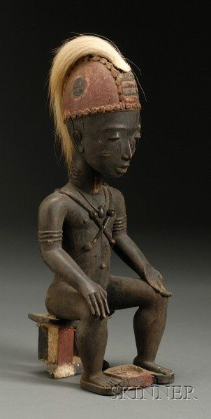 Africa | Male figure statue from the Baule people | Wood, cowrie shells, animal hair and pigments.