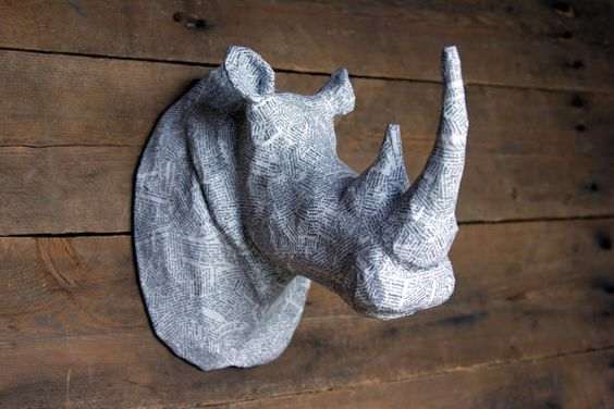 Paper Mache Animal Head Sculpture White Rhino Head
