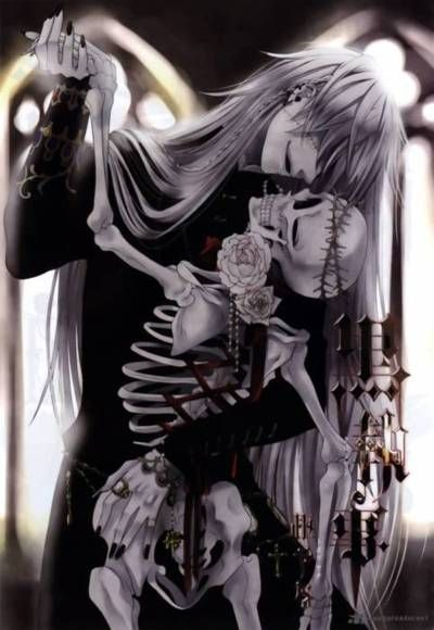 Undertaker, from Kuroshitsuji, and a beloved skeleton - lol Undertaker is so awesomely creepy!~