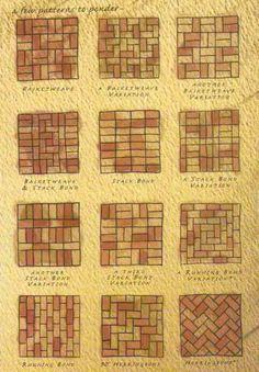 Brick patterns- inspiration for wine cork trivet patterns