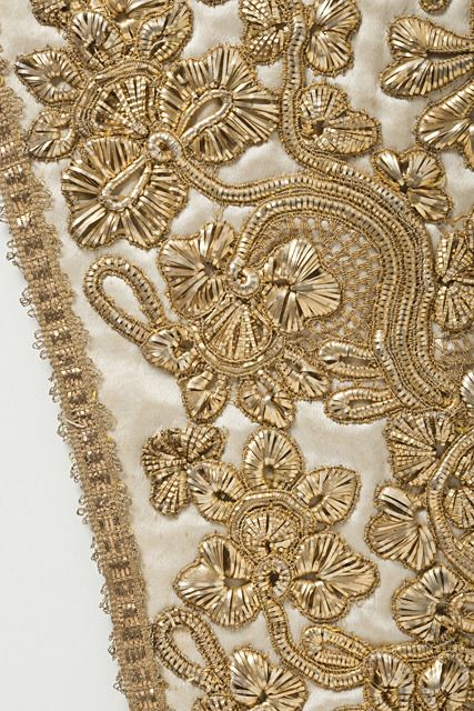 Close up of Goldwork on Stomacher. Probably British. ca ...