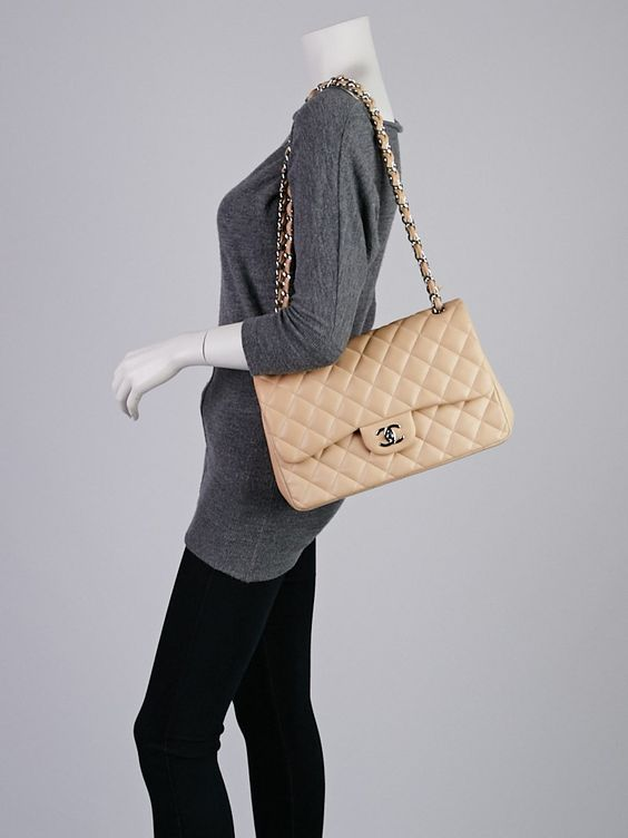 Chanel Beige Clair Quilted Lambskin Leather Classic Jumbo Double Flap Bag