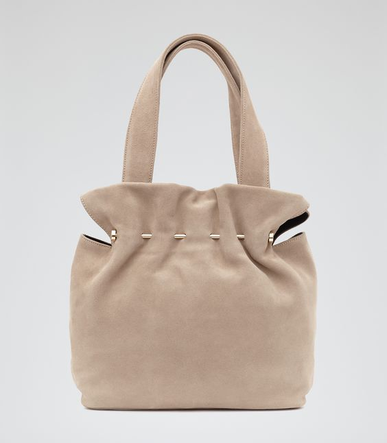 Womens Natural Suede And Metal Tote - Reiss Cassius