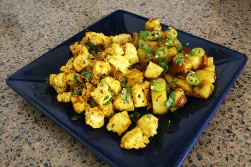 tofu masala scramble and cumin potatoes
