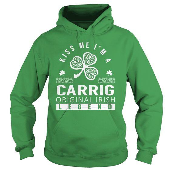 (Tshirt Most Sale) Kiss Me CARRIG Last Name Surname T-Shirt Discount 20% Hoodies, Funny Tee Shirts