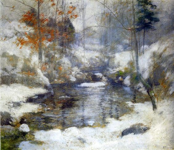 1890 John Twachtman Harmonie d'hiver. American painting.