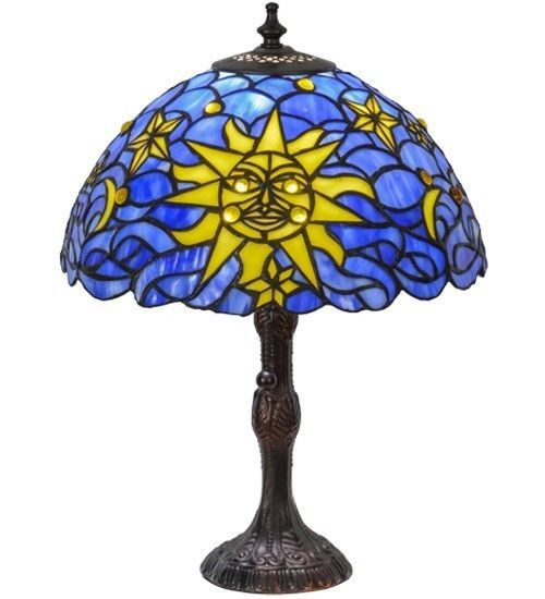 "SUN Moon STARS Tiffany STYLE Stained Glass TABLE LAMP 16.5"" Celestial BLUE  #StainedGlass"