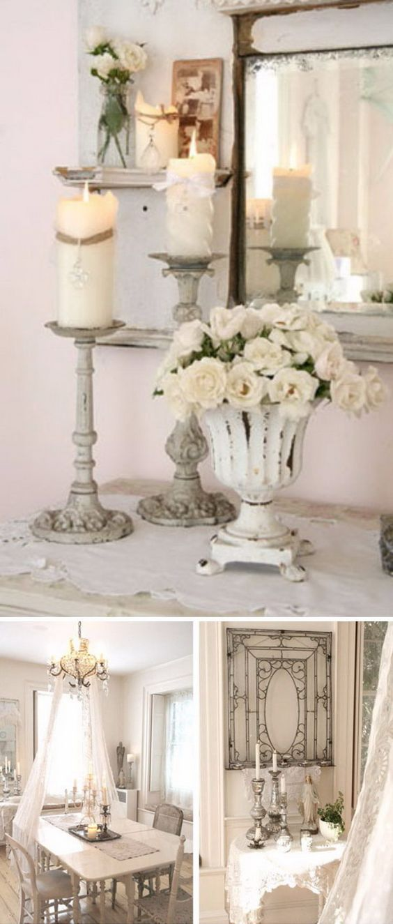 Shabby chic candle stick for dining room decoration for Shabby chic dining room decorating ideas