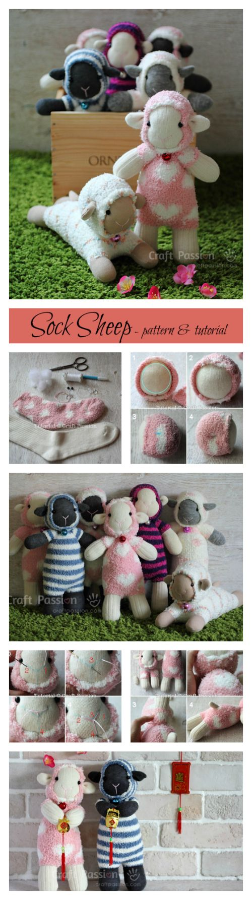 Free pattern and tutorial on how to sew sock sheep with 2 single socks. Use a microfiber sock to resemble the fluffy fur of the sheep.: