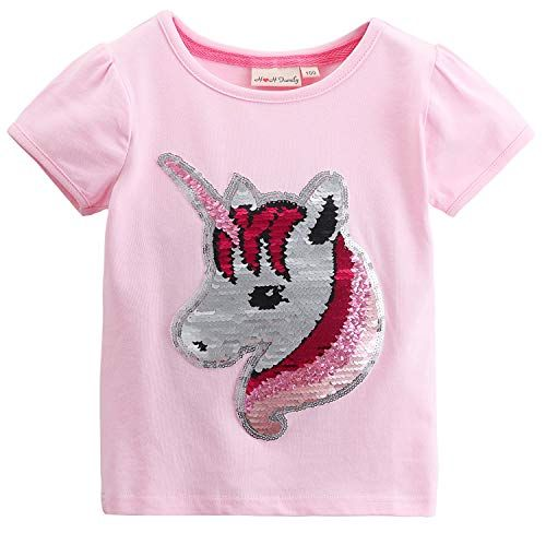 Girls Unicorn Shirts Short Sleeve Flip Sequin T-Shirt Tops