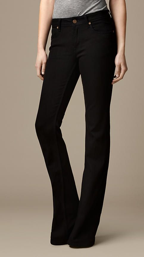 Hempton Black Bootcut Jeans   Burberry