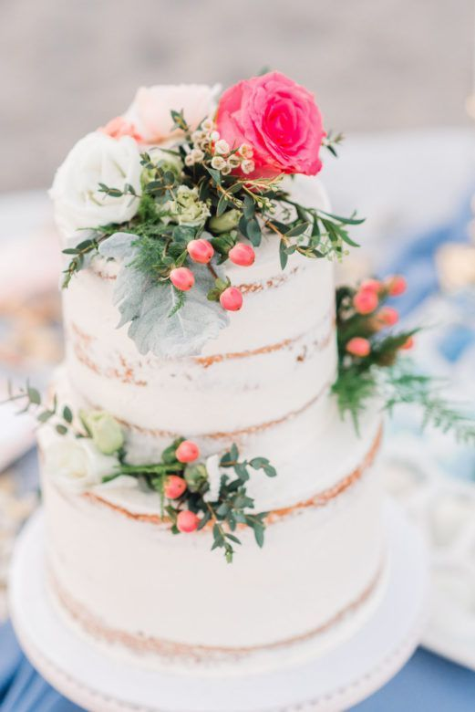 Boho Rustic Beach Wedding Inspiration Beach Wedding Cake Floral