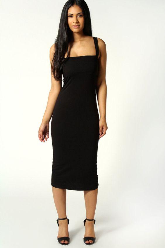 #SALE Jen Square Neck Bodycon Midi Dress Shop the #SALE at #Boohoo