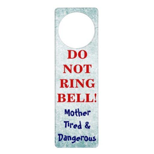 Funny Baby Sleeping Do Not Ring Bell door hangers