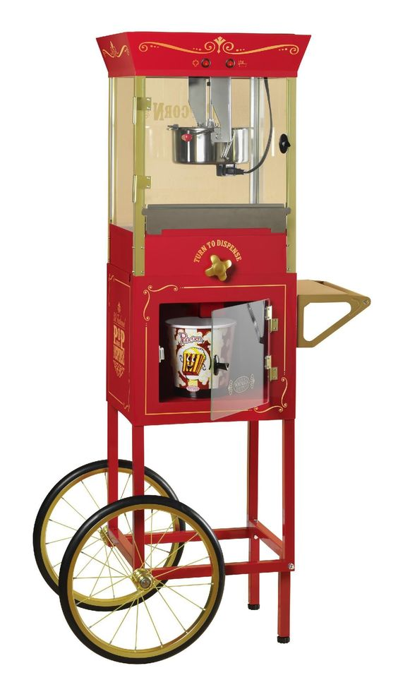 Nostalgia Electrics CCP810 Vintage Collection Popcorn Dispensing Cart, Red
