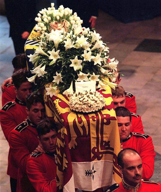 The coffin of Diana, Princess of Wales, leaves Westminster Abbey after the funeral service on September 6, 1997 (Getty Images)