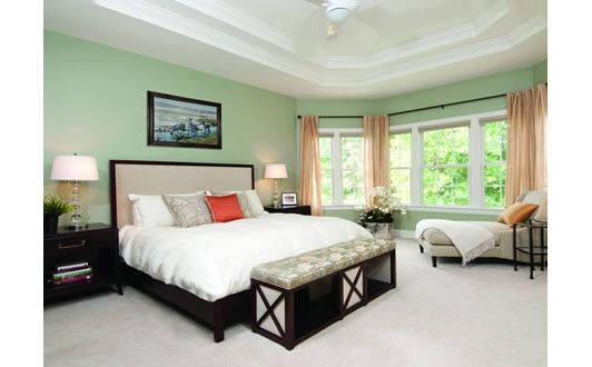 Bedroom decorated in light spring colors