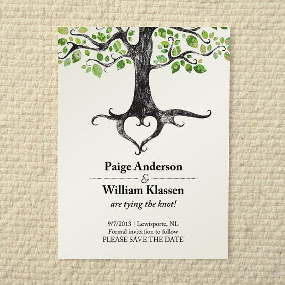 Wedding save the date rustic woodland tree diy for Free printable tree wedding invitations