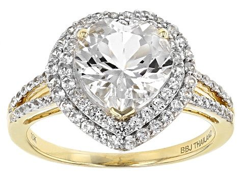 White Danburite And White Zircon 10k Yellow Gold Ring 2 52ctw Yellow Gold Rings Gold Rings Danburite