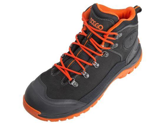 DOGGO Bruno Outdoor-Schuhe orange schwarz. Dieser sportliche Hikingstiefel #Bruno von #DOGGO wurde für Hundebesitzer hergestellt und besteht aus hochwertigem Leder und geöltem Canvas. Das robuste Obermaterial macht den Stiefel langlebig, alltags- und geländetauglich. Ein rundum zuverlässiger Outdoor Schuh, der etwas anderen Art.  Gr. 37-45