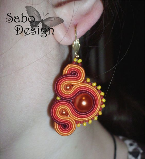 TEXCOCO - soutache earrings  handmade embroidered  by SaboDesign.