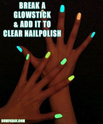 Tips  http://myhoneysplace.com/tips-12/a-diy-ideas-glow-in-the-dark-nails/