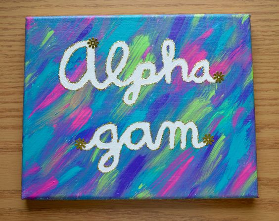 "Alpha Gamma Delta ""Alpha Gam"" canvas with glitter"