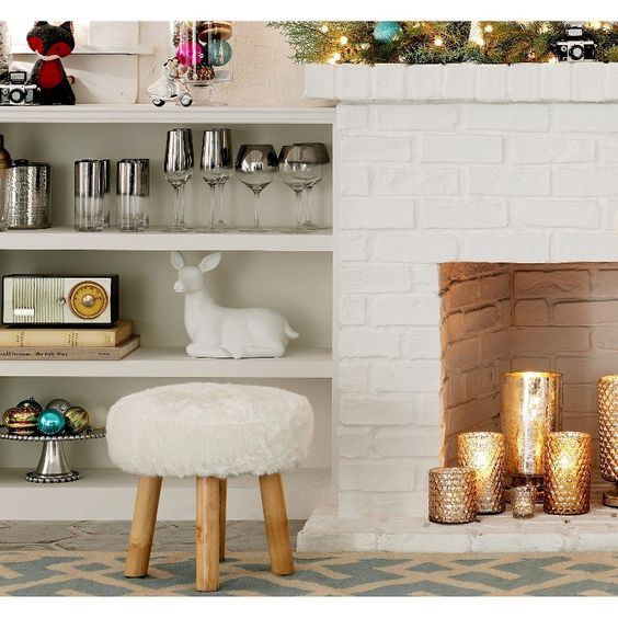 Threshold™ Faux Fur Foot Stool - White | Living room ideas ...