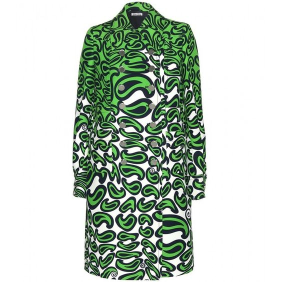 Miu Miu Printed Coat (147.305 RUB) ❤ liked on Polyvore featuring outerwear, coats, green, jackets, multicoloured, colorful coat, white coat, miu miu, miu miu coat and green coat