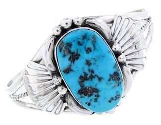 """American Indian Sleeping Beauty Turquoise Cuff Bracelet BW64855 SilverTribe. $229.99. MEASUREMENTS: The inner bracelet circumference measures approximately 5-1/2"""", plus a 1"""" opening, 1-1/4"""" at widest point.. Southwestern Jewelry. MATERIALS: Sterling silver and Sleeping Beauty Turquoise.. American Indian Sleeping Beauty Turquoise Cuff Bracelet BW64855. Save 50% Off!"""