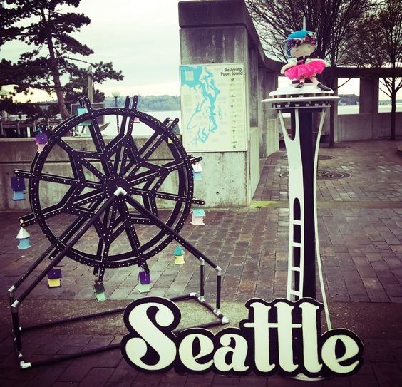 Here she is with a mini space needle