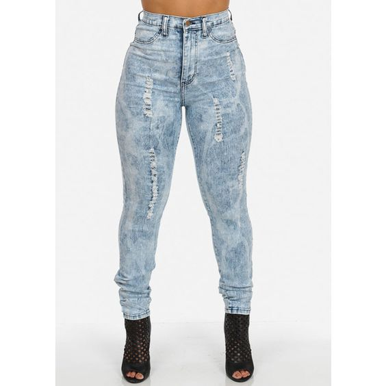 High Waisted Distressed Skinny Jeans in Bleach Wash (Plus Size