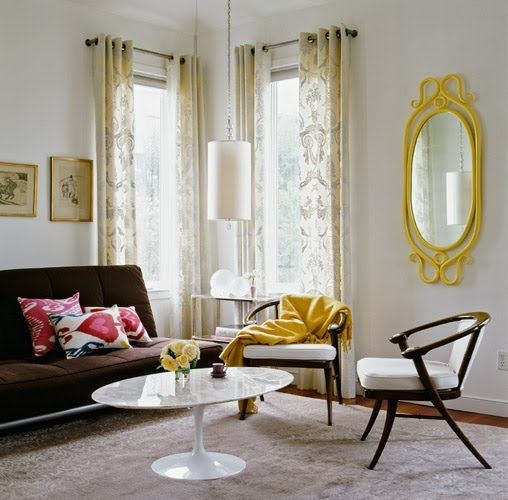 interior by redmond aldrich:  i like the pop of the yellow mirror