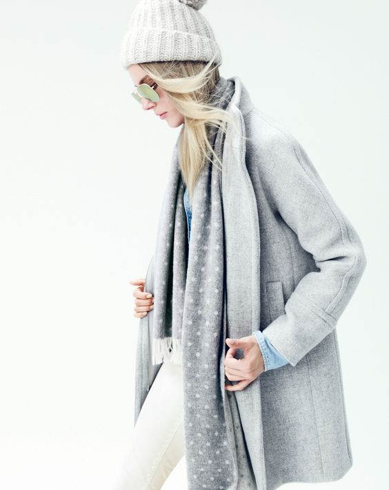 Stadium-cloth cocoon coat, cashmere dot scarf, and Ray-Ban ...