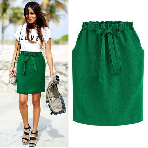 Green Cotton Midi Skirt