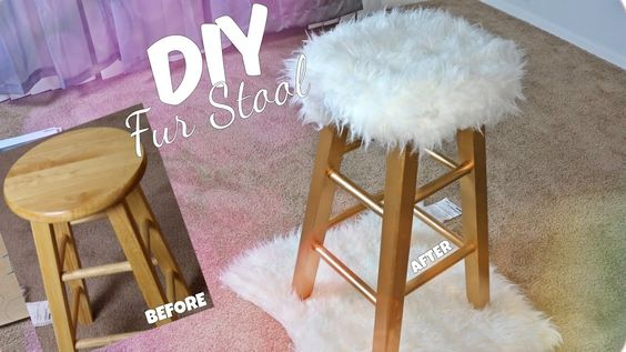 DIY GOLD FUR STOOL | EASY & AFFORDABLE