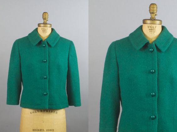 Emerald Isle Jacket / 50s Jacket / Green Wool Jacket / Made in ...