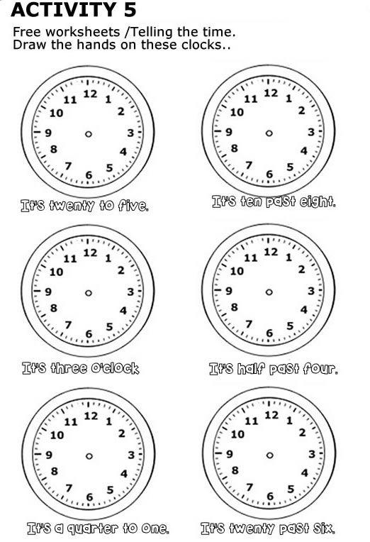 Free Worksheet To Print Las Horas En Ingles Decir La Hora Aprender Ingles Para Niños
