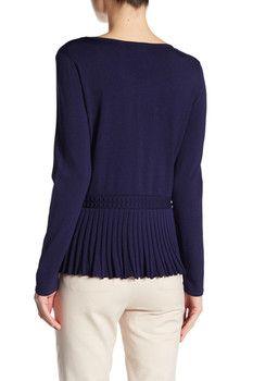 CeCe by Cynthia Steffe Long Sleeve Bobble Peplum Sweater
