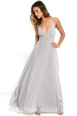 Deeper than the deep blue sea and the Grand Canyon combined ... that's how deep our love for the Depths of My Love Grey Maxi Dress is! Elegant chiffon in a lovely grey hue shapes a triangle bodice and sultry V neckline supported by crisscrossing, adjustable spaghetti straps. The fitted, pintucked waistline accentuates your figure before flowing into an accordion pleated maxi skirt. Hidden back zipper and clasp.