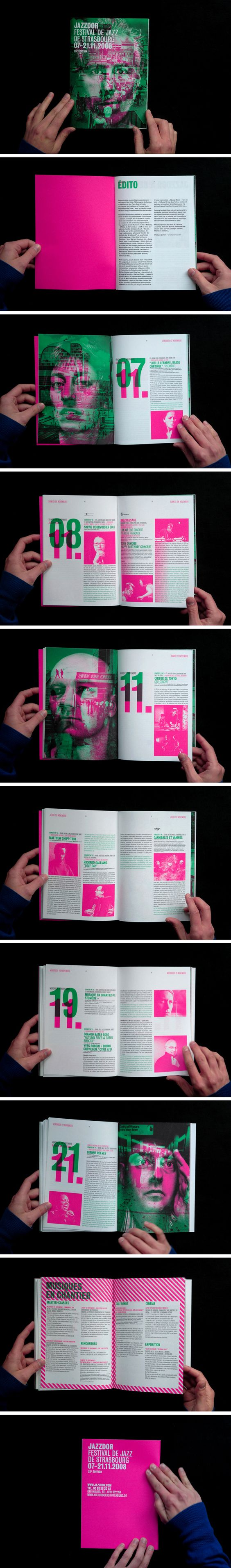 """Jazzdor, it's the Strasbourg Jazz festival. The French agency """"Helmo"""" has designed a #brochure, #posters and program in 3 colors."""
