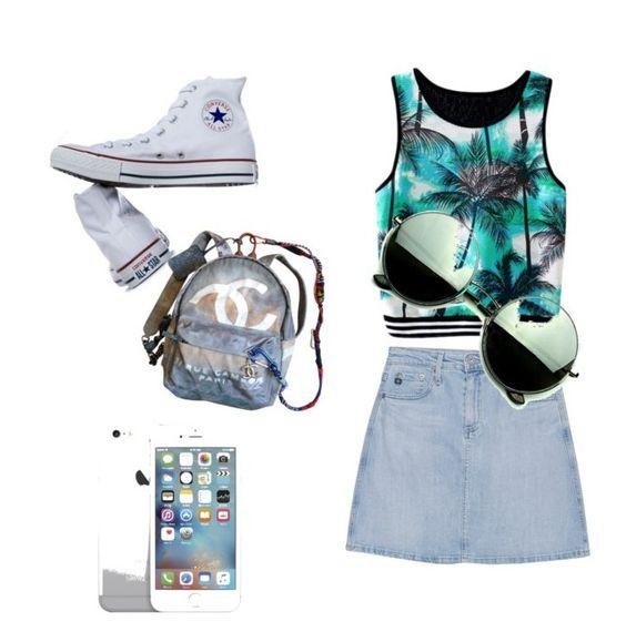 """""""Untitled #38"""" by kaite7 ❤ liked on Polyvore featuring AG Adriano Goldschmied, Converse, Chanel and Revo"""