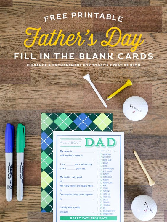 Freebie   Father's Day Fill in the Blank Card