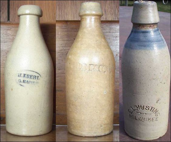 Stoneware bottle form evolution - 1860's - 1870's - 1880's  The shapes of Wisconsin stoneware bottles are distinctly different from bottles from other parts of the US.  The shoulders of Wisconsin stoneware bottles were rounded rather than square as commonly seen in Eastern stoneware bottles, and the necks tended to be longer and more tapered.  The style of the lip evolved over the years, from a mushroom shape on the earliest (1860's) bottles to a tall square style in later years (1880's)…