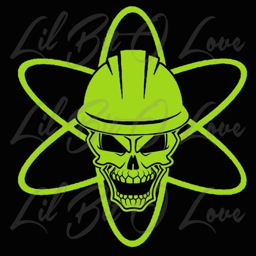 Nuclear Symbol Skull in Hard Hat Power Plant Nuke Life ...
