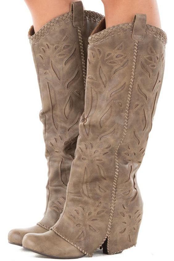 Purchasing these on my lunch break...... I think they are so cute 💜Lime Lush Boutique - Taupe Overlay Tall Boot with Cut Out and Stitched Details…