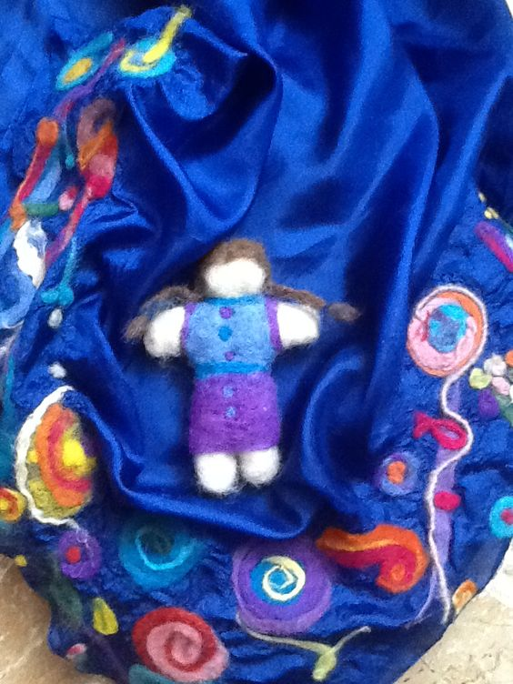 Needle felted doll on felted silk scarf 2